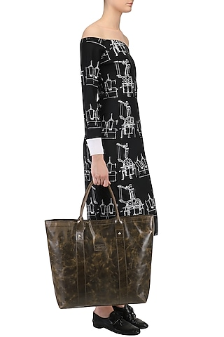 Shaded Brown Leather Tote Bag by Samant Chauhan Accessories