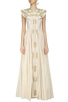 Ivory Zari Embroidered Front Open Flared Gown by Samant Chauhan