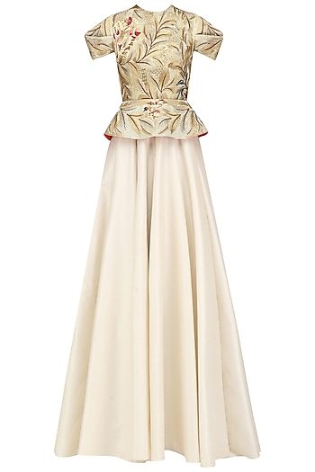 Off White and Gold Embroidered Peplum Gown by Samant Chauhan