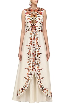 Off White Embroidered Front Open Layered Gown by Samant Chauhan