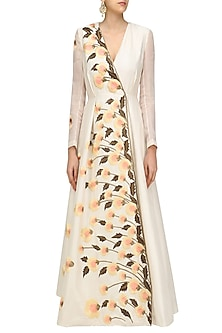 Off White Pastel Embroiderd Long Sleeved Angrakha Gown by Samant Chauhan