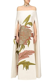 Off Whitebig Flower Off Shoulder A Line Kaftan Style Gown by Samant Chauhan