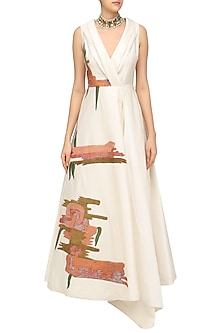 Off White Embroidered Angrakha Gown by Samant Chauhan