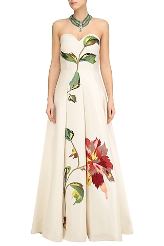 Off White Big Flower Embroidered Off Shoulder Gown by Samant Chauhan
