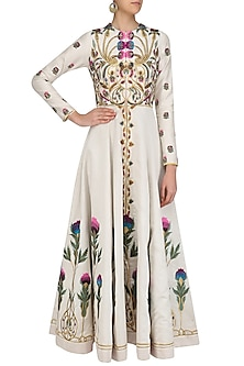 Off White Floral Embroidered Front Open Gown by Samant Chauhan