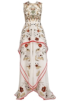 Off White High Low Flared Gown by Samant Chauhan