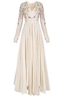 Off White Anarkali Style Gown by Samant Chauhan