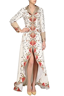 Off White High Low Embroidered Gown by Samant Chauhan