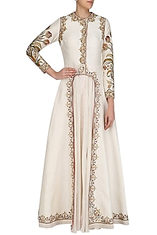 Off White Front Open Layered Gown by Samant Chauhan