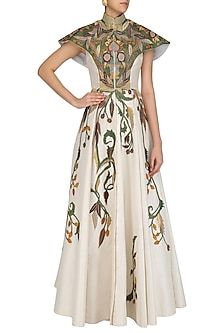 Off White Cape Style Flared Gown by Samant Chauhan
