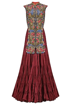 Red and Blue Panel Floral Embroidered Crinkled Gown by Samant Chauhan