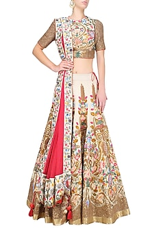 Gold Silk Thread and Zari Floral Embroidered Lehenga Set by Samant Chauhan