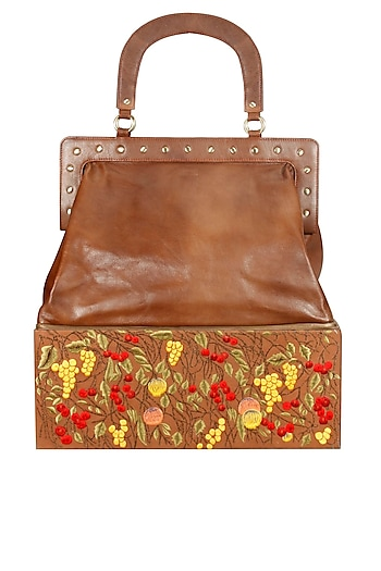Brown silk thread embroidered oversized leather bag by Samant Chauhan Accessories