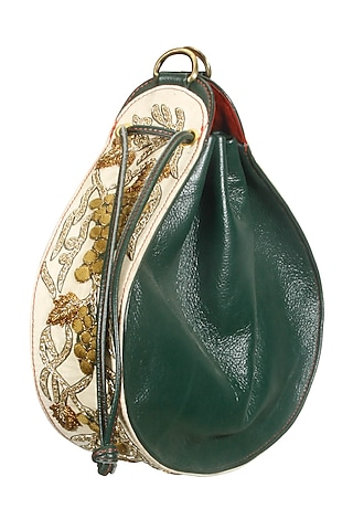Olive green and white silk thread and dabka embroidered round leather bag by Samant Chauhan Accessories