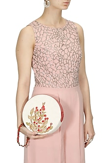 White and red silk thread and zari embroidered handcase bag by Samant Chauhan Accessories