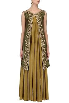 Mustard Pleated Tunic and Olive Green Zari Work Jacket by Samant Chauhan