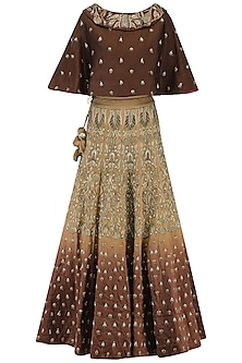 Beige and Brown Shaded Zari Embroidered Lehenga Set by Samant Chauhan