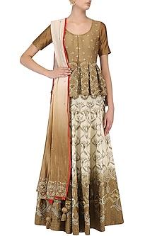 Cream and Brown Shaded Zari Embroidered Lehenga Set by Samant Chauhan