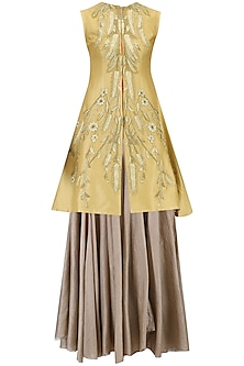 Beige Pleated Tunic and Embroidered Jacket Set by Samant Chauhan