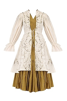 Olive Green Pleated Tunic and Embroidered Jacket Set by Samant Chauhan