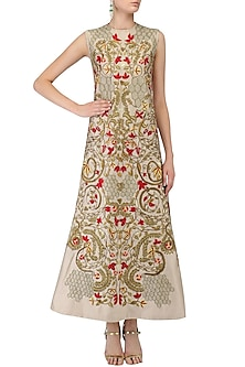 Grey Floral Embroidered A Line Dress by Samant Chauhan