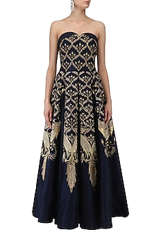 Navy Blue Floral Embroidered Off Shoulder Gown by Samant Chauhan