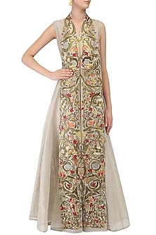 Grey Floral Zari Embroidered A Line Dress by Samant Chauhan