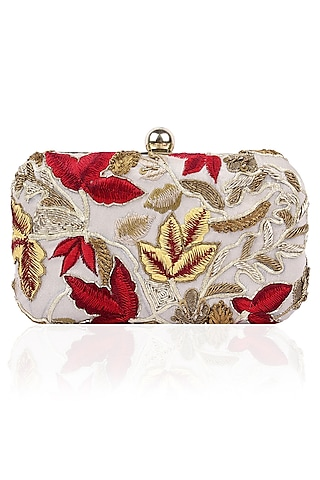 Grey Floral Embroidered Rectangular Box Clutch by Samant Chauhan Accessories
