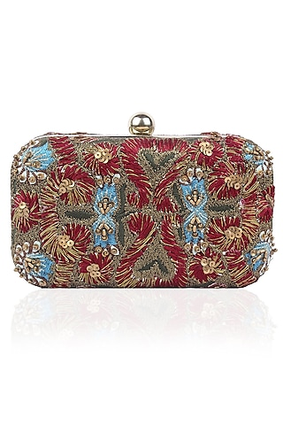 Red Silk Thread and Zari Embroidered Box Clutch by Samant Chauhan Accessories