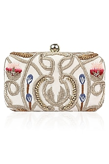White Silk Thread and Zari Embroidered Box Clutch by Samant Chauhan Accessories