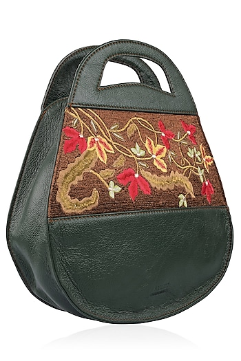 Green Full Grain Floral Embroidered Textured Leather Bag by Samant Chauhan Accessories