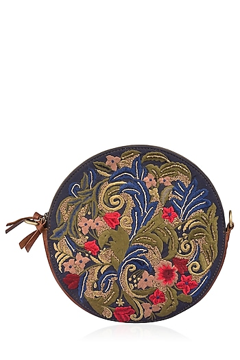 Brown and Blue Floral Embroidered Round Leather Bag by Samant Chauhan Accessories