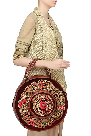 Brown and Maroon Floral Embroidered Round Leather Bag by Samant Chauhan Accessories