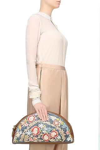 Brown Floral Embroidered Half Moon Oversized Leather Clutch by Samant Chauhan Accessories