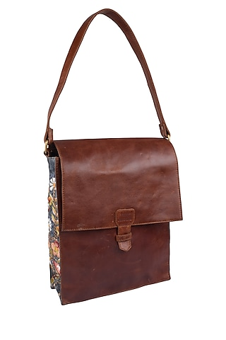 Brown Floral Embroidered Leather Messenger Bag by Samant Chauhan Accessories