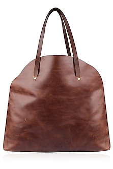 Brown Pull Up Leather Tote Bag by Samant Chauhan Accessories