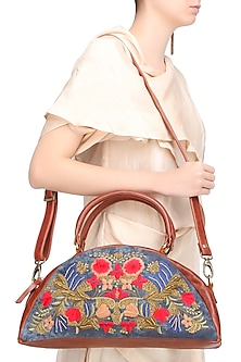Blue and Brown Floral Embroidered Half Moon Leather Duffle Bag by Samant Chauhan Accessories
