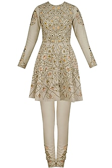 Beige Floral Embroidered Short Anarkali Set by Samant Chauhan