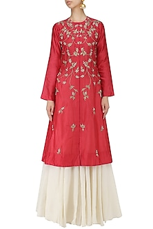 Dark Pink Embroidered Kurta with Off White Maxi Dress by Samant Chauhan