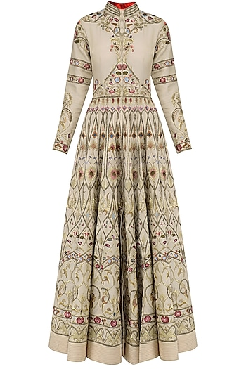 Beige Thread Embroidered Front Open Anarkali Gown by Samant Chauhan