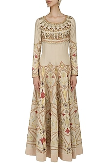 Natural Thread and Zari Embroidered Anarkali Gown by Samant Chauhan