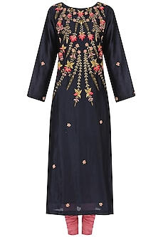 Navy and Pink Embroidered A Line Kurta Set by Samant Chauhan