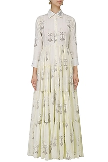 Off White Block Print Maxi Dress by Samant Chauhan