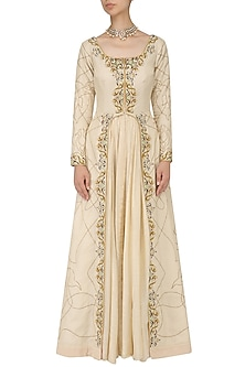 Natural Zari Embroidery Open Gown by Samant Chauhan