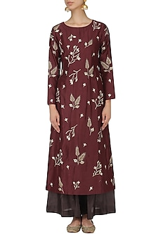 Maroon and Brown Floral Embroidered Kurta Set by Samant Chauhan