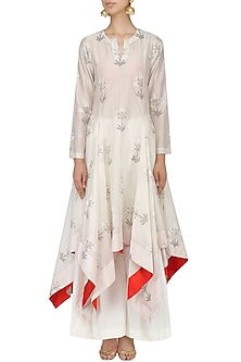 White Block Print High Low Kurta Set by Samant Chauhan