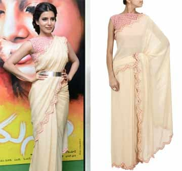 Nude scalloped border sari with pink cutwork blouse by Frou Frou