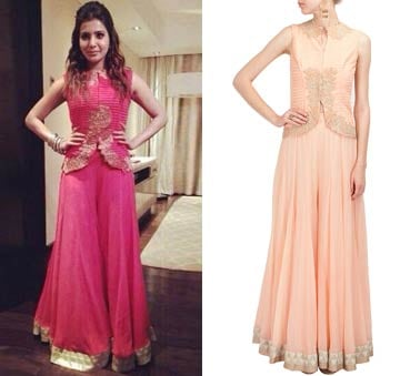 Peach textured jacket with sharara by Ridhi Mehra