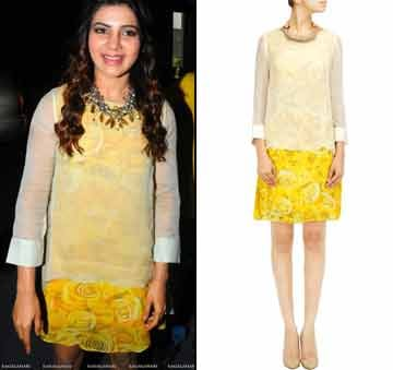 Yellow rose print dress with ivory overlapped top by Varun Bahl