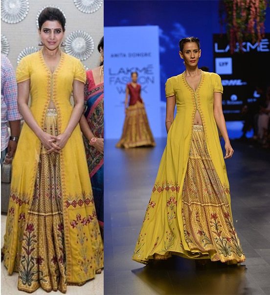 Mustard yellow floral digital printed and resham embroidered jacket and lehenga set by Anita Dongre